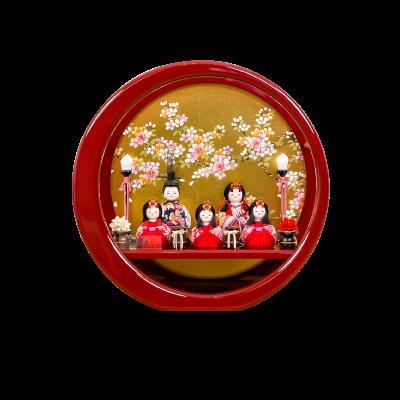 木目込み 伝統和工芸 月ノ輪 朱塗